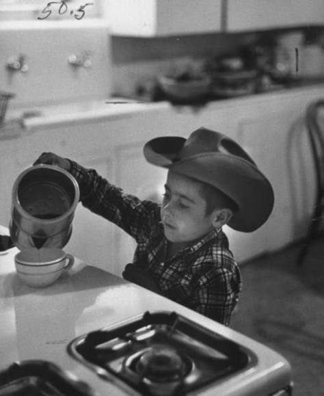 A Young Up and Coming Cowboy Discovers The Finer Things in Life - A Cup of Strong Black Coffee
