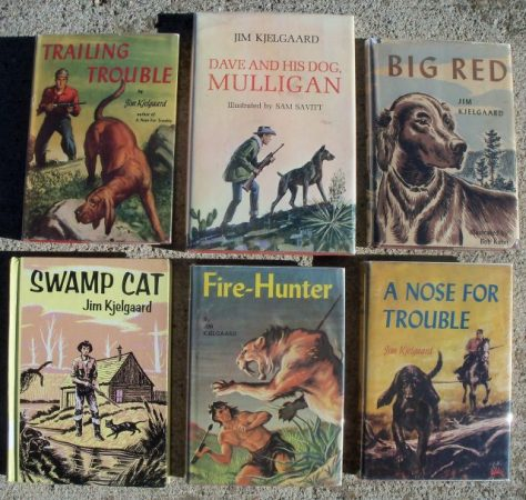 Trailing Trouble, Dave and His Dog Mulligan, Big Red, Swamp Cat, Fire-Hunter, A Nose For Trouble By Jim Kjelgaard. Most Pictured Here are First Edition Copies With Dustjackets and Are Highly Collectible. From The Book Collection of Michael Patrick McCarty