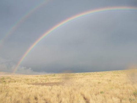There Is Always Light At The End of The Tunnel a double rainbow in the high desert of northwestern colorado taken on an archery pronghorn antelope hunt