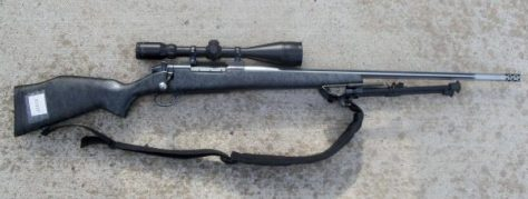 The .30-378 Weatherby Magnum Mark V Rifle With Synthetic Stock, High Powered Scope, And Bipod. Photo by Michael Patrick McCarty