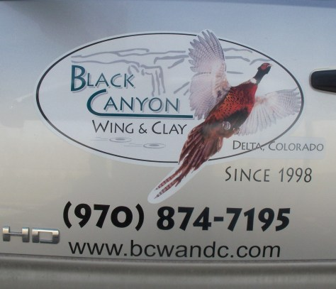Logo found on a pickup truck for the Black Canyon Wing and Clay in Delta, colorado. A colorado shooting and hunting preserve reserve