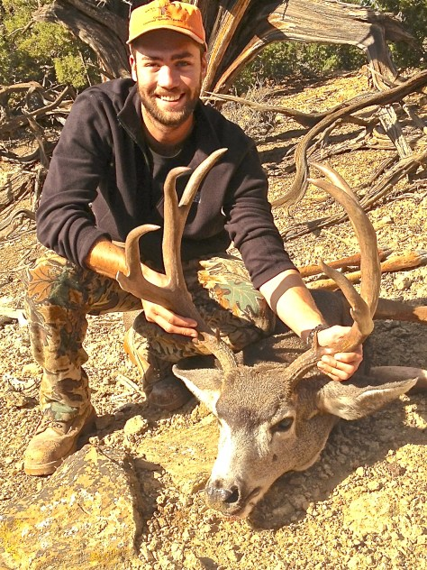 Mackenzie Hayes of Glenwood Springs, Colorado with his 2015 trophy mule deer buck from Game Management Unit 21 (GMU 21) near Rangely, Colorado