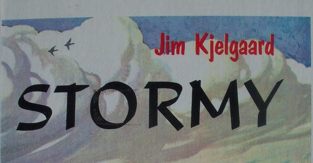 A Close-up of The Partial Title of Stormy By Jim Kjelgaard.