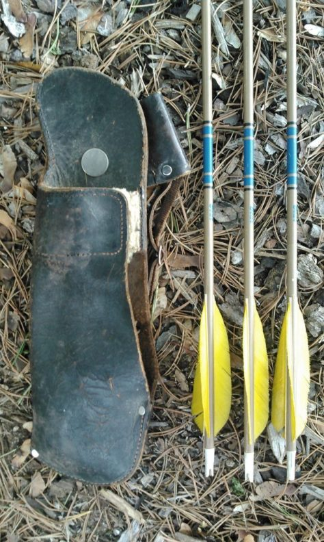 A Custom-Made Leather Hip Quiver, circa late 1950's (Maker Unknown), Carried By My Father on His Woodland Caribou Hunt . Pictured Here Alongside Some Vintage Arrows From Bear Archery. Photo by Michael Patrick McCarty