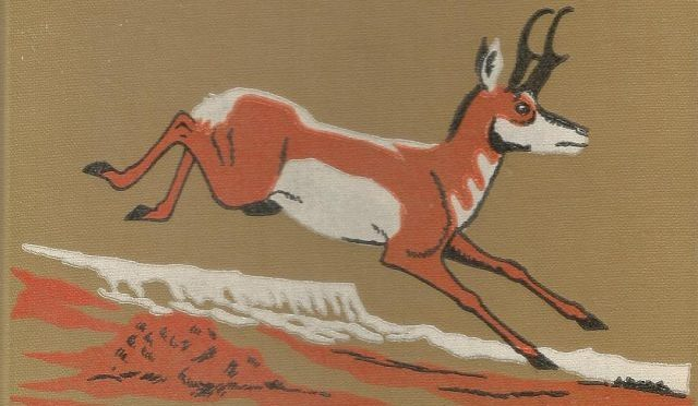 Cover illustration for Run, Light Buck, Run The Adventurous Life of a Lone Pronghorn and a Man on Arizona's Paria Plateau by Larry Toschik. Text by B.F. Beebe