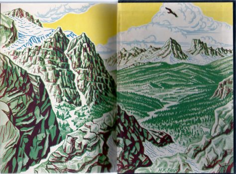 Illustrated Endpapers From A First Edition Copy of Wild Trek By Jim Kjelgaard