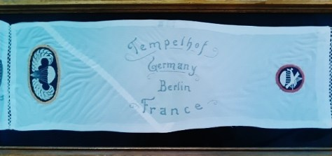 A Custom Sewn Silk Commemorative Scarf, Cut From a Parachute, Showing The Parachutist's Badge and Paratrooper Glider Patch