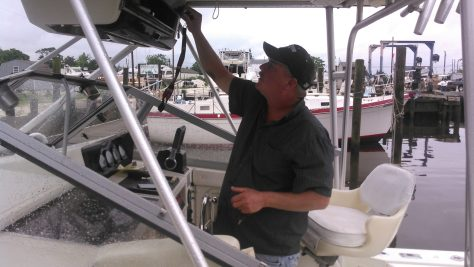 Kevin McCarty of Tuckerton, New Jersey Readies His 29' Boston Whaler For A Day of Fishing