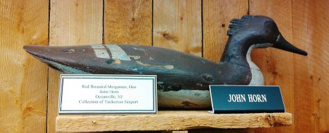 A Hen Red Breasted Merganser Decoy by John Horn of Oceanville, New Jersey Dispalyed at The Tuckerton Seaport and Baymen's Museum. New Jersey Decoys Rule!