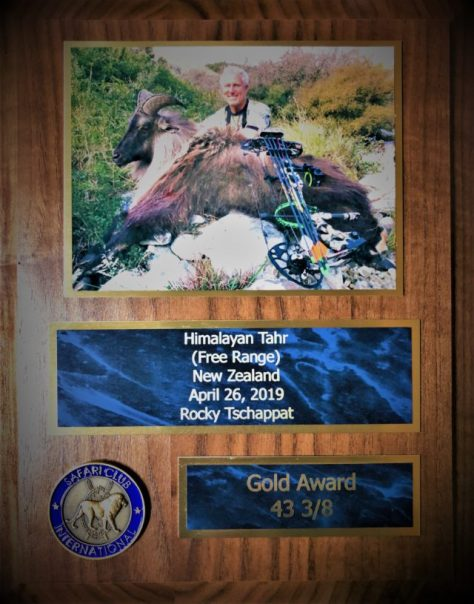 A Gold Medal Award Plaque From Safari Club International, For The New #12 Himalayan Tahr, Taken While Bowhunting On a Free Range Hunt On The South Island of New Zealand