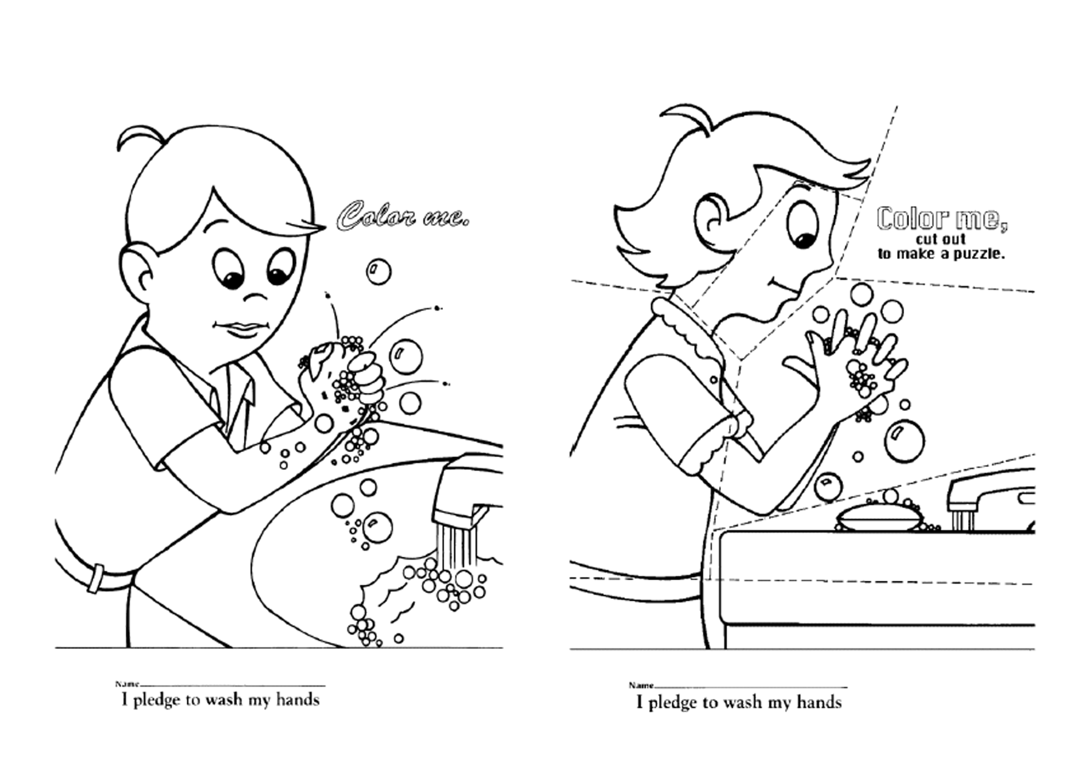 Proper Hand Washing Techniques Sketch Coloring Page