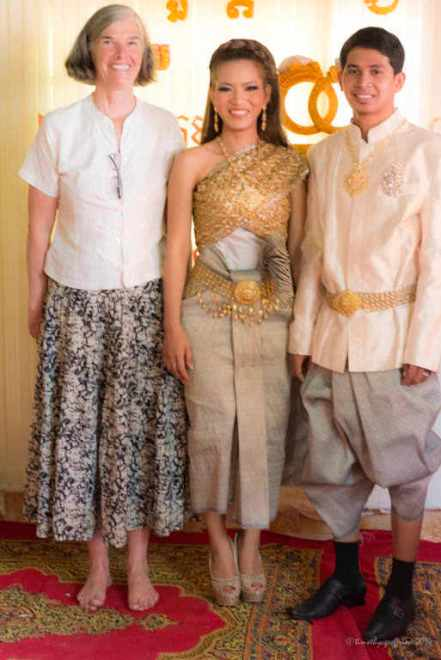 Jill and the couple in traditional dress