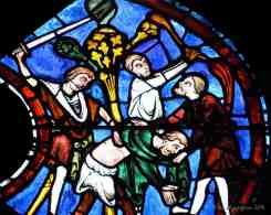 Pilgrim being attacked and stripped