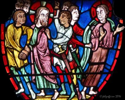 Jesus' arrest. He and Peter look at one another
