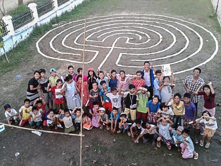 Participants at the labyrinth event