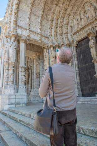 Studying the creation images on the north porch