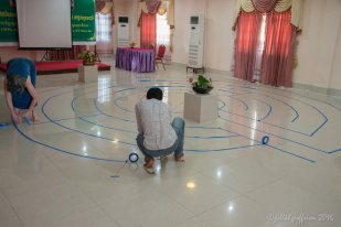 Temporary labyrinth, Kampot, Cambodia by Jill K H Geoffrion