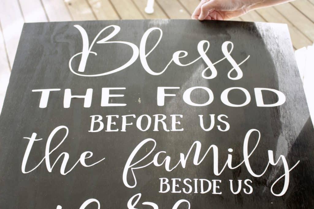 DIY Bless The Food Sign Using A Cricut Explore