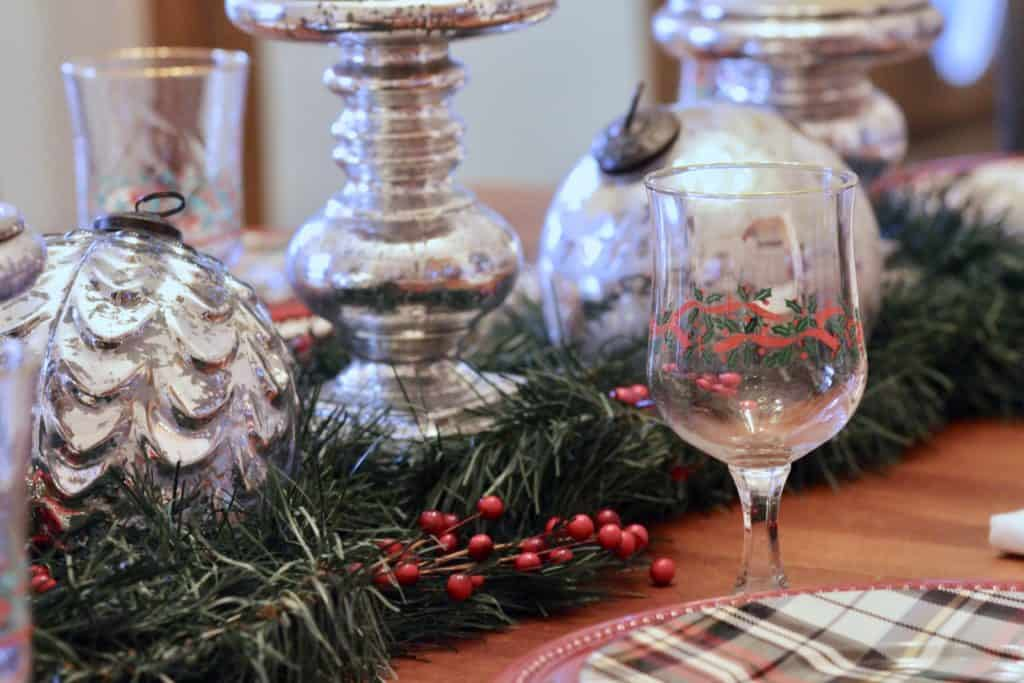 Christmas Table Centerpiece Using Mercury Glass