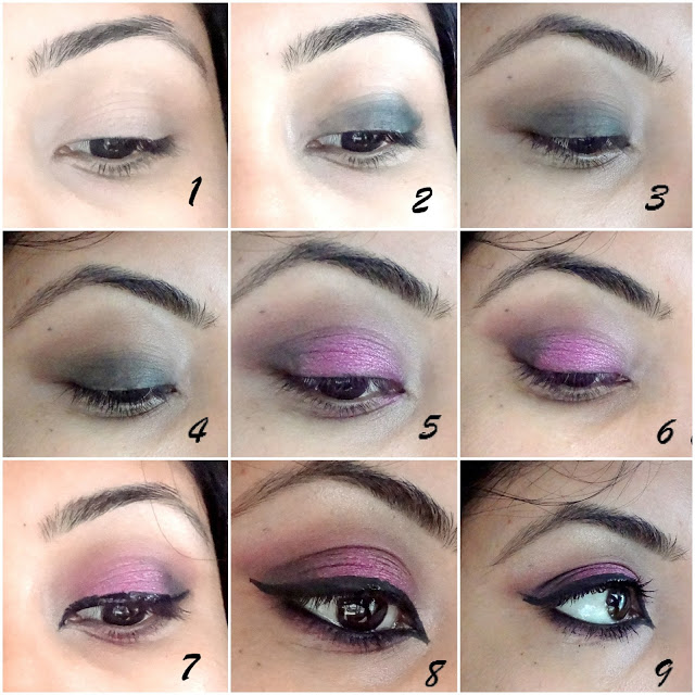 Tutorial on Purple Smokey Eyes makeup look easy step by step