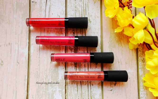 Nelf Matte All The Way Lipsticks in shades 01,02,03 and, 04 Review and swatches