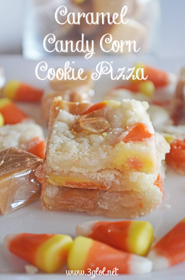 Caramel Candy Corn Cookie Pizza