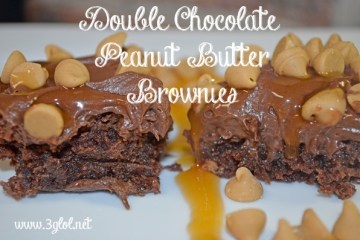 Double Chocolate Peanut Butter Brownies by 3GLOL.net