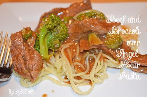 Beef and Broccoli over Angel Hair Pasta
