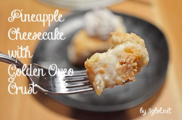 Pineapple Cheesecake with Golden Oreo Crust