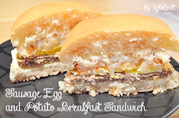 Sausage Egg and Potato Breakfast Sandwich