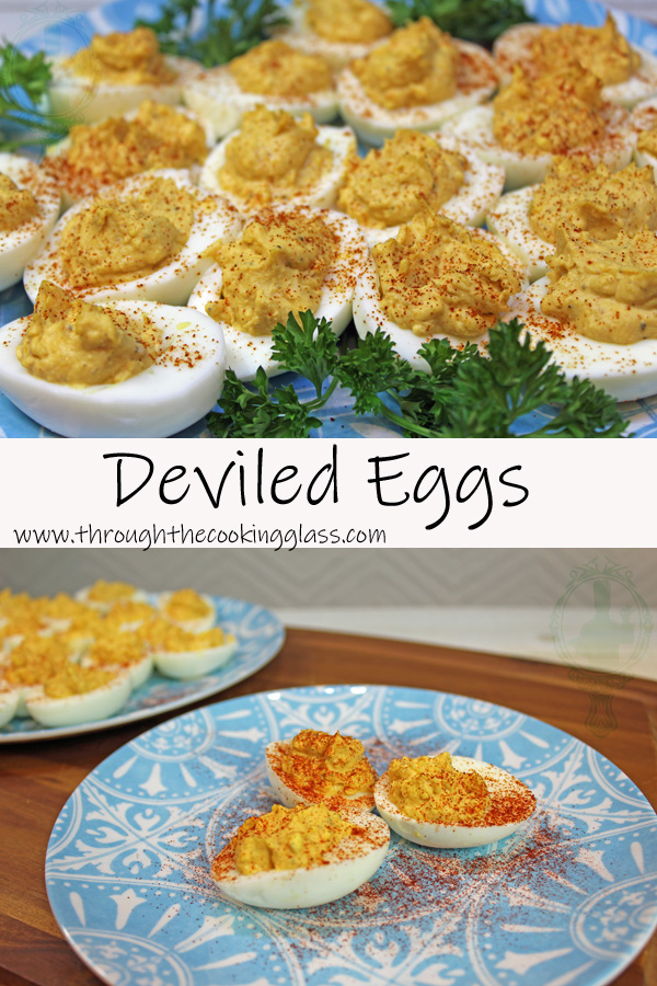 Platter of deviled eggs on top and closer view of the deviled egg on bottom.