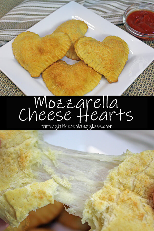 Top image shows a plate with four mozzarella cheese hearts on it. The bottom image shows one of them being pulled apart with the cheese stretching.