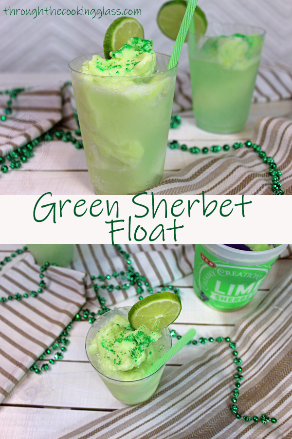 Green Sherbet Float with a straw and slice of lime for fanciness.