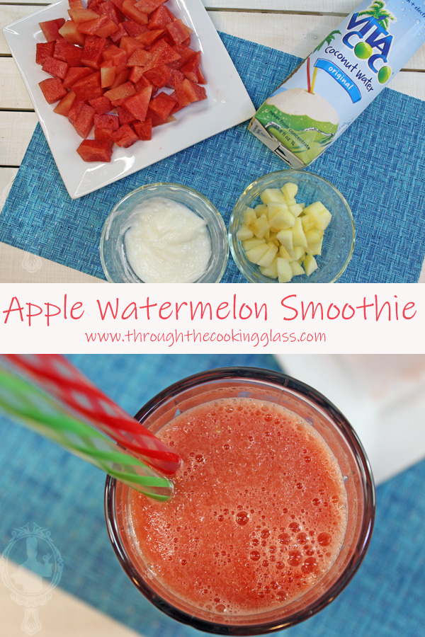 Two pictures. Top one shows the ingredients needed for the Apple Watermelon Smoothie. Bottom shows an overhead view of the smoothie in a glass.