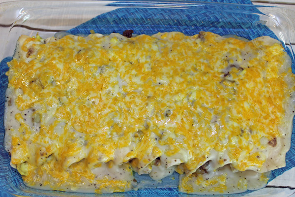 Finished product of the breakfast enchiladas right out of the oven.