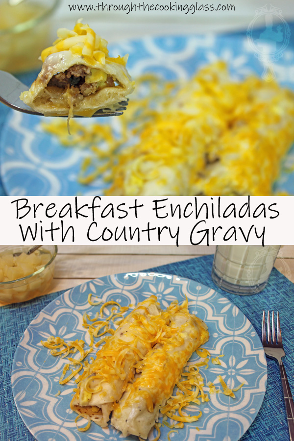 2 pictures. Top picture is a close up of 2 breakfast endchiladas on a blue plate.  The bottom is a picture zoomed out some of the breakfast enchiladas.
