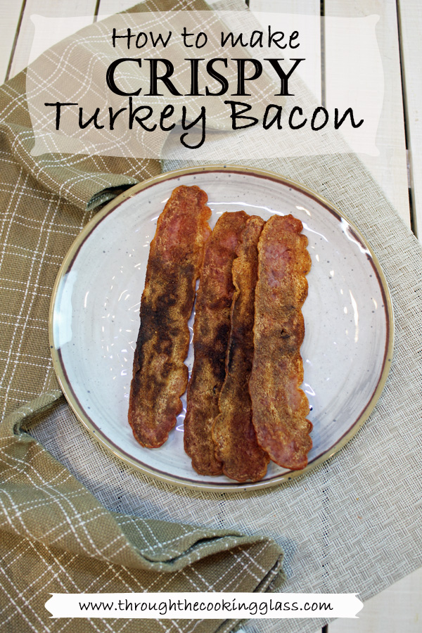 Plate of 4 strips of Crispy Turkey Bacon
