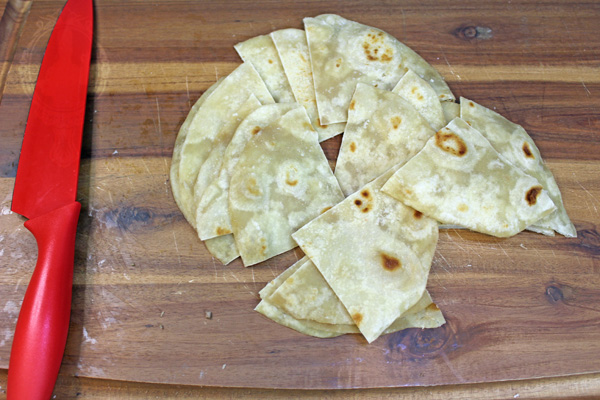Tortillas cut into quarters