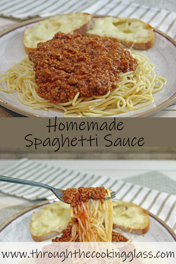 Two pictures.  Top pictures shows a plate with homemade sauce piled on top of spaghetti pasta. Bottom picture shows spaghetti and sauce on a fork.
