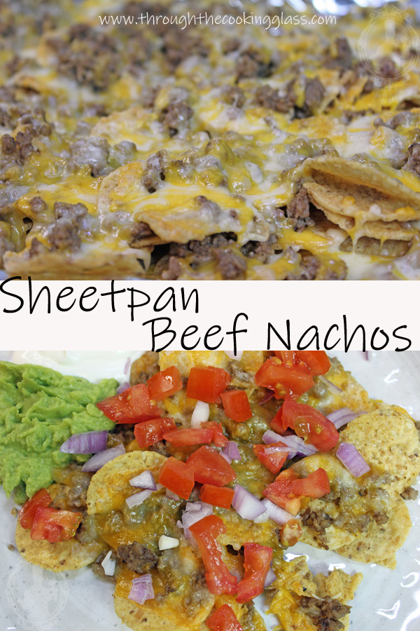 Two pictures of Sheetpan Beef Nachos. Top picture is close up of the nachos just out of the oven. Bottom pick is on a plate with toppings.
