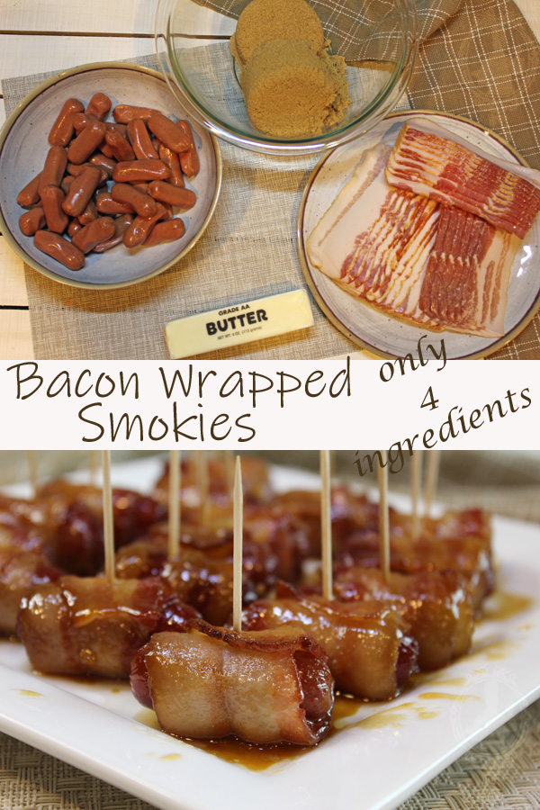 Top picture shows the ingredients needed to make Bacon Wrapped Smokies. The bottom picture shows a bunch of lil smokies with toothpicks on a serving plate.
