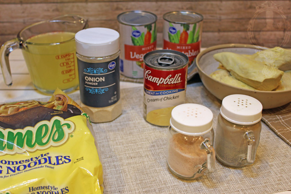 Ingredients used to make chicken vegetable soup.