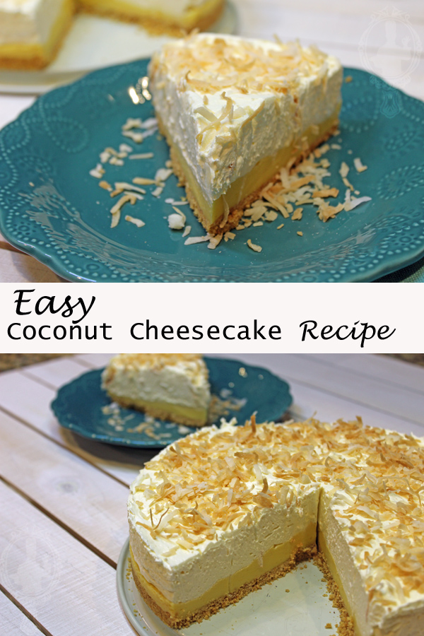 Picture on top shows a slice of coconut cheesecake on a blue plate. The bottom picture shows the entire coconut cheesecake with a slice missing, the misisng slice is in the background on a plate.
