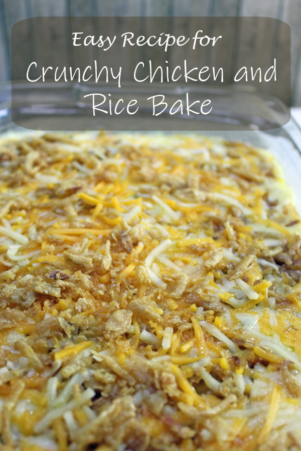 Casserole Dish full of Crunchy Chicken and Rice Bake