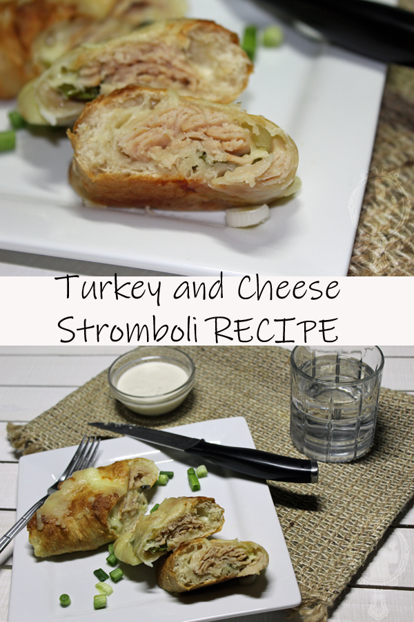 Top picture has an up close shot of a slice of turkey and cheese stromboli. The bottom picture is a 45° angle of a plate with a couple slices of the stromboli with a cup of water and ranch dip.