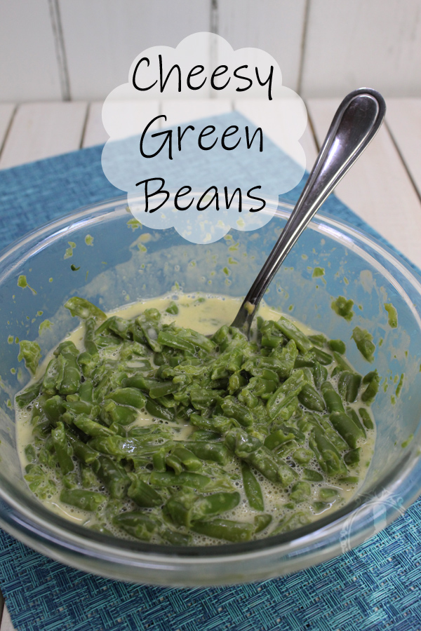 A bowl of Cheesy Green Beans.