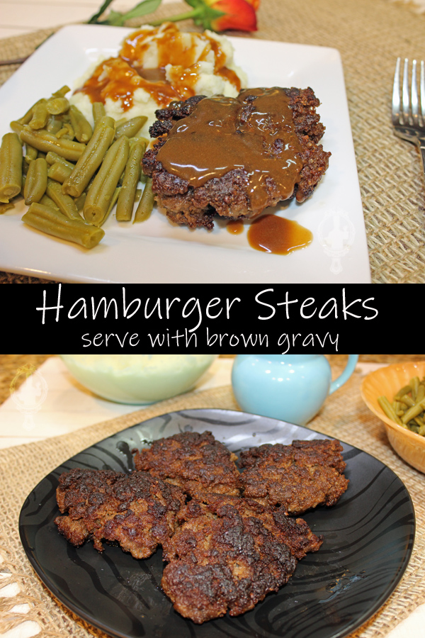 Top image has a whole Hamburger Steak on a white plate with mashed potatoes and green beans for sides. The bottom image has 4 Hamburger Steaks on a black plate ready to be served.