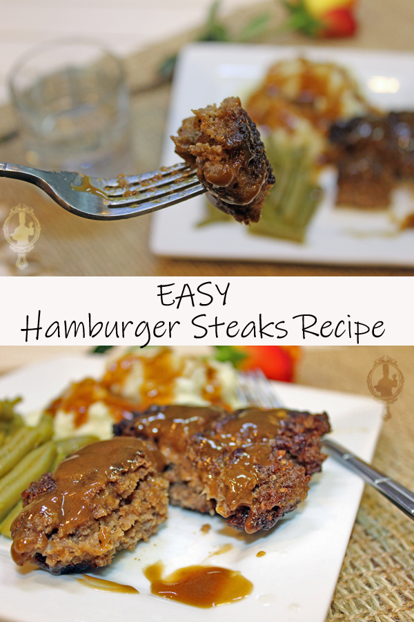 Top image is a bite of hamburger steak on a fork, close up. The bottom image shows a hamburger steak cut in half with gravy on top on a plate with mashed potatoes and green beans.