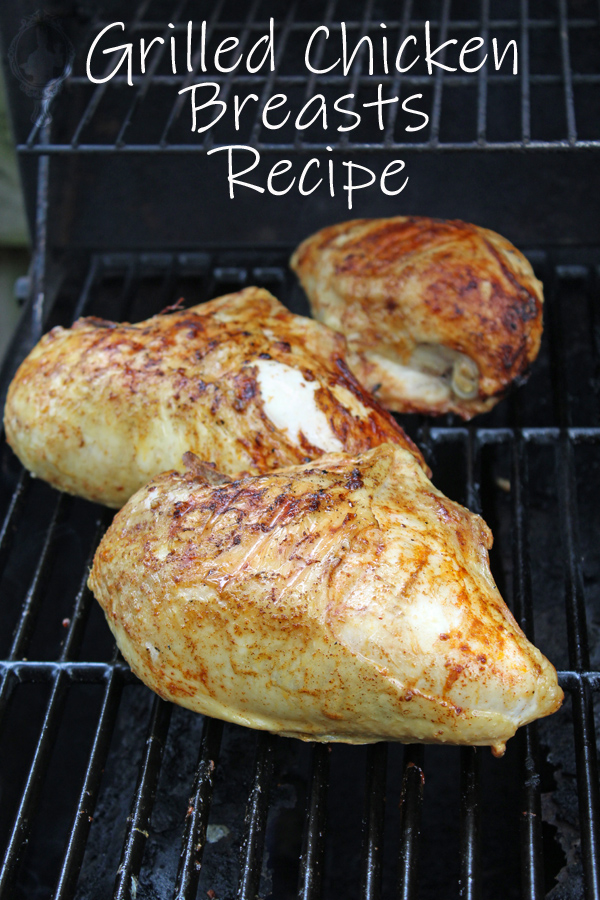 3 chicken breasts on the grill.