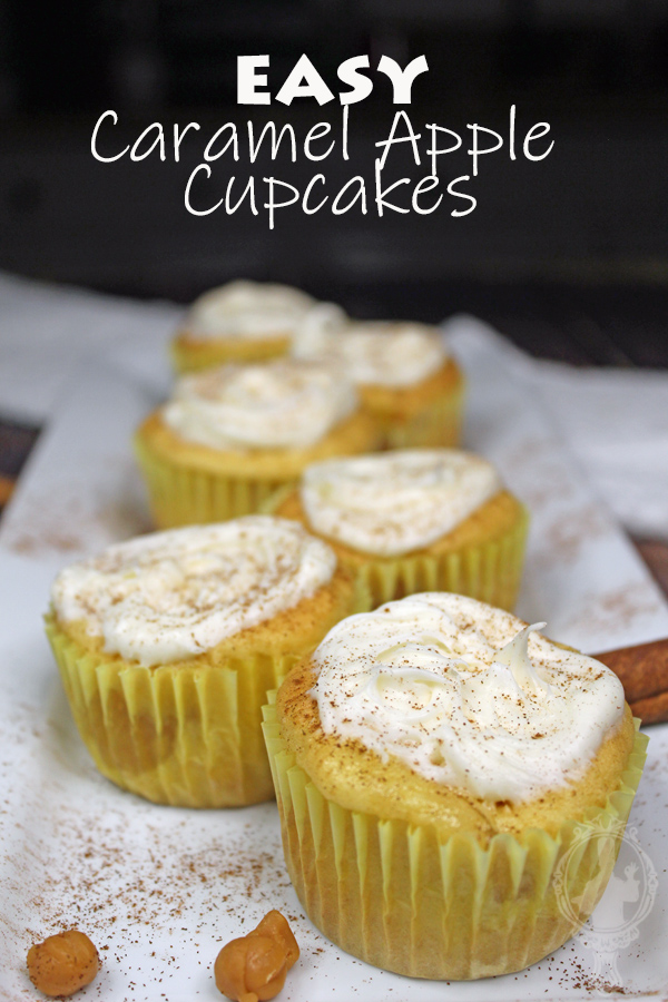 Caramel Apple Cupcakes on a serving plate with cinnamon sprinkled.